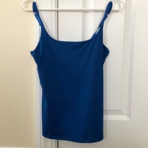 Blue tank top with built in bra support